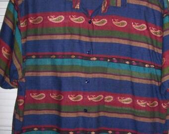 Vintage Jacque & KoKo Big Shirt Plus 22 - 24  Bright w Metalic Threads