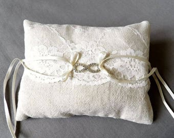 Pillow ring bearer lace pillow rings made of linen and lace with infinity symbol in Rhinestones, boho chic wedding