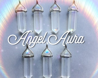 Angel Aura Crystal pendant, Titanium aura, LIGHTLY COATED double terminated necklace