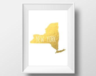 New York State Gold Foil Printable Art, New York Print, New York Art, Modern Art,