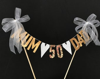 50th Golden Wedding Anniversary cake topper for your mum & dad, cake banner with gold metallic fabric letters and white hearts
