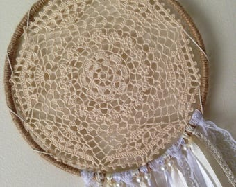 "Boho Dreamcatcher ~ Mystic Love | 7"" Ecru Crochet Doily Bohemian Dream Catcher | Small Wall Hanging"