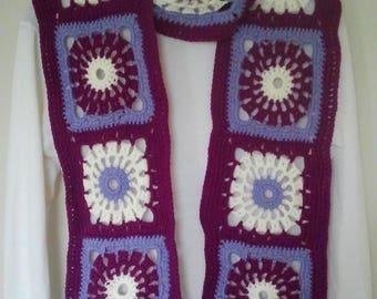 Plum purple and ecru crochet granny scarf