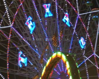 TEXAS  State Fair Ferris Wheel  lit up 4x6 photo PRINT