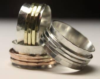 Silver and Brass Spinner Fidget Meditation Ring