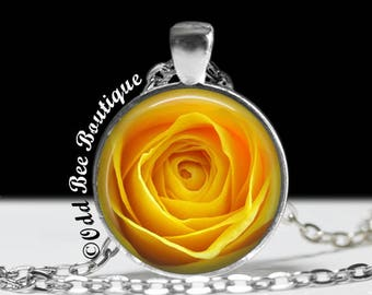 """Rose Floral Necklace - Yellow Rose Pendant - Elegant, Bridal Jewelry - Rockabilly, Retro, Traditional Classic-1"""" Silver and Glass Pendant"""