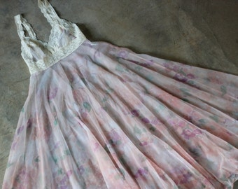 Vintage Slip Dress Sheer Vintage Nightgown Floral Bohemian Maxi Gown