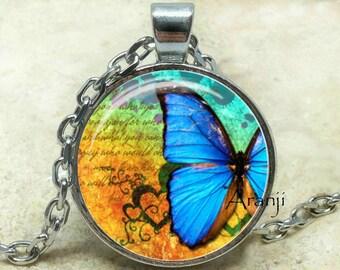 Blue butterfly art pendant, butterfly, butterfly pendant, butterfly jewelry, butterfly necklace, iridescent butterfly, Pendant #AN157P