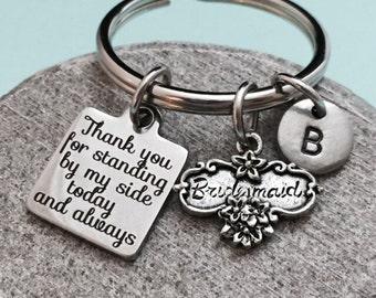 Wedding keychain, wedding charm, bridesmaid keychain, personalized keychain, initial keychain, customized keychain, monogram