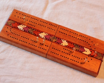Folding Travel Cribbage Board With Inlays