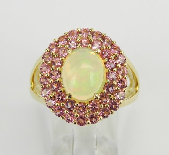 Yellow Gold Pink Tourmaline and Opal Double Halo Engagement Ring Size 7 October Gemstone