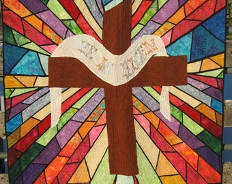 "Christian ""He Is Risen"" Stained Glass Cross Quilt"