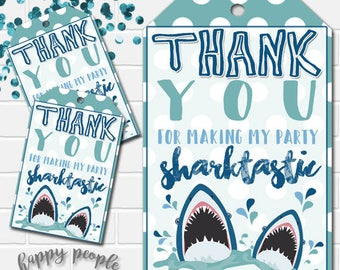 Shark Favor Tags, Shark Tags, Shark Favors, Shark Birthday, Shark Party Decor, Shark Printables, Shark Thank You, Shark Decorations
