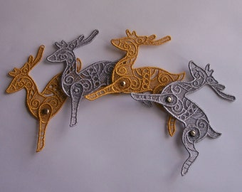 Lace reindeer--Metalic Colors--Articulated