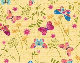 Dancing Wings, Tossed Butterflies on Yellow cotton fabric