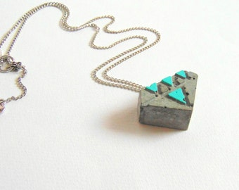 Concrete Diamond Necklace, Geometric Concrete Jewelry, Industrial Necklace