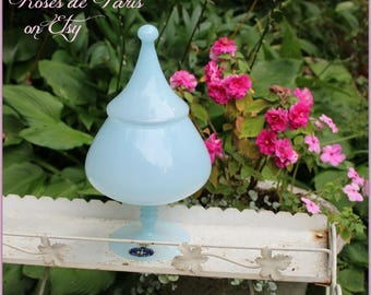 vintage Murano Balboa glass blue opaline candy or apothecary jar ~ NEW OLD STOCK ~ found in original box