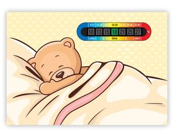 A5 Nursery & Childrens Sleepy Teddy Room Thermometer