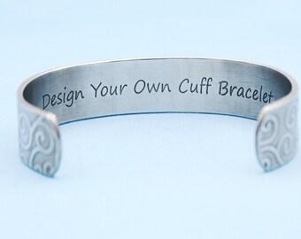 "5/8"" Personalized Cuff Bracelet-Design your own-Graduation Gift-Sister Gift-Custom Cuff Bracelet-Wedding Present-HIDDEN MESSAGE BRACELET"