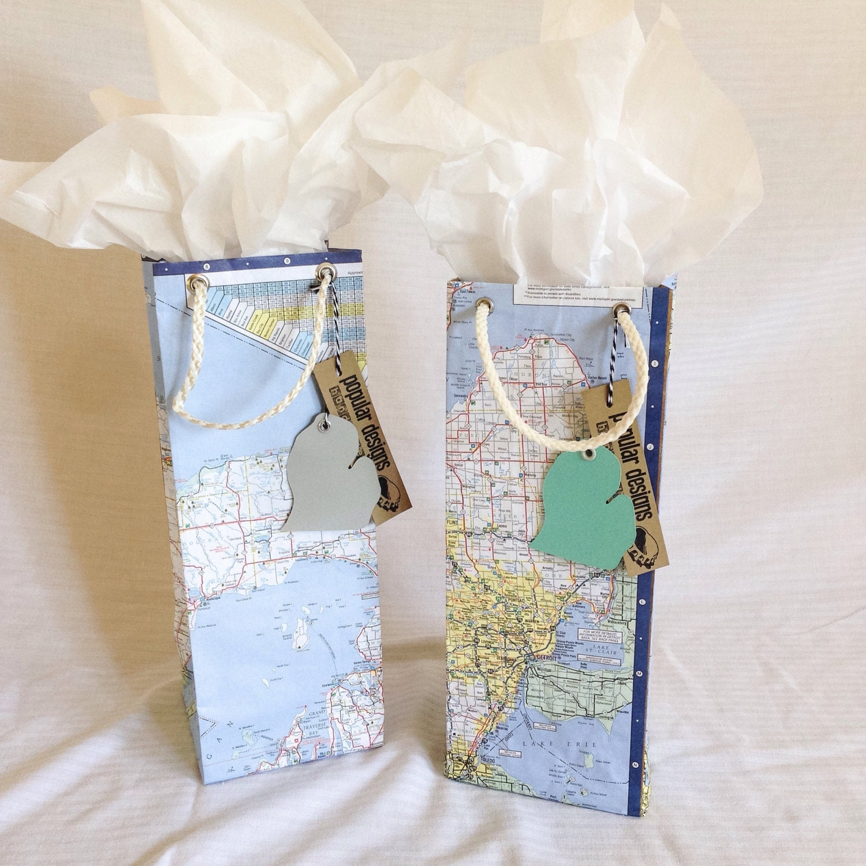 SALE 2 Michigan Map wine gift bags / gift wrap / birthday bag