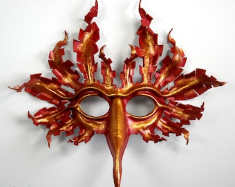 Large firebird leather mask, hand-molded leather, hand-painted in metallic scarlet, copper, gold, phoenix, bird, Halloween