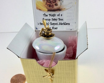 Teacup Fairy Box with Fairy Necklace in a Gift Box