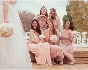 Bridesmaid Lace Shawls, Set of six. 5 peach lace bridesmaids shawls+ 1 Ivory Bridal Shawl. Versatile Wedding Boleros Shawls, Bridesmaid Gift