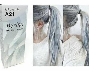 BERINA A21 Light Grey Super Hair Dye Color Cream Permanent Fashion Unisex