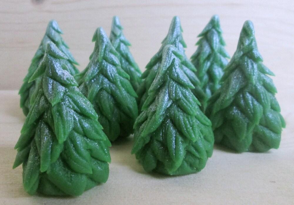 Marzipan Christmas Trees 8 fondant Christmas trees 3D