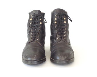 vintage field boots * black lace-up boots * 90s granny Boots * black leather boot * size 6 / 36