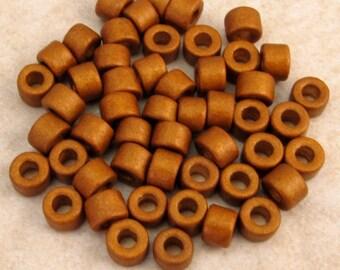 Greek Mykonos Ceramic Mini Tube Beads 6x4 mm Brassy 50 Pieces M27