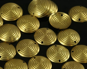 300 Pcs 20 mm raw brass cambered Circle, 2 hole,raw brass  textured connector ,raw brass charms ,raw brass findings 668R-340