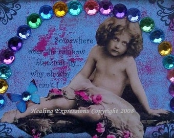 OVER THE RAINBOW altered collage art abuse ptsd therapy aceo atc print