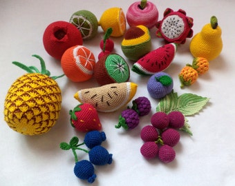 Crochet play food set (20 pcs) Crochet vegetables and fruit , pretend play toy, eco-friendly toys,Pretend play ,crochet food,Preschool Toys