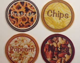 Snacks Embroidered Drink Coasters