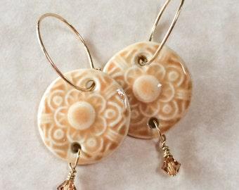 Amber Porcelain Earrings, Porcelain and Crystal Earrings, Gold Filled Hoop Earrings, Handcrafted Porcelain Earrings, Crystal Dangle Earrings