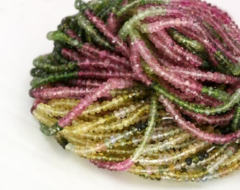 Tourmaline - Green and Pink Watermelon Tourmaline Rondelle, 13.5 inch full Strand - 2.5mm - AAA Quality, Micro Faceted - Item 200