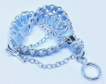Twined Bracelet - Sterling Silver & 100% Silk Ribbon
