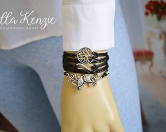 Dove Bracelet with Tree of Life, Dove Charm Bracelet, Dove Leather Bracelet, Dove Friendship Bracelet, Doves Jewelry, Turtle Dove Bracelet