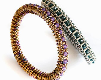 Beading pattern - easy - bangle using superduo and cubic right angle weave (CRAW) - 'Corono'