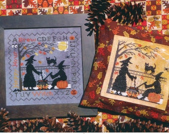 Lila's Studio ** Witch's Brew ** Halloween Witch Counted Cross Stitch Pattern Cauldron