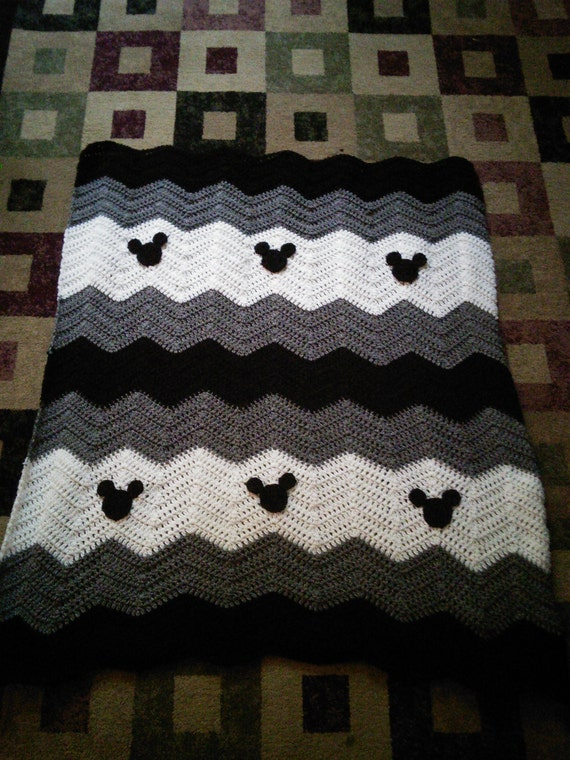 Black Gray White Minnie Mickey Mouse Crochet Afghan Baby