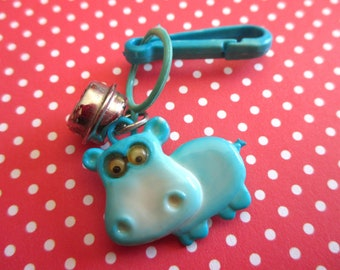 Vintage Bell Charm Blue Hippo with Googly Eyes, 1980s Plastic Toy Clip Charms, 80s Kawaii Junk Necklace, Collectible Jewelry Supply