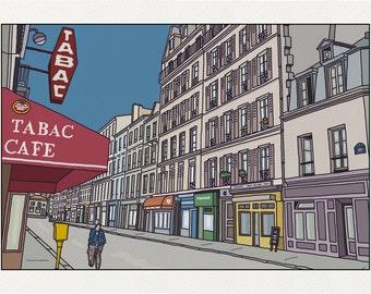 An empty Street - Illustration Paris - print on fine art paper