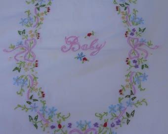 Vintage Crib Flat Sheet / Embroidered Baby Sheet