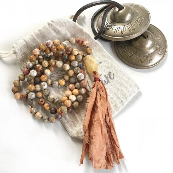 Crazy Lace Agate Mala Beads, Mala Beads To Bring Joy And Liveliness, Yellow Opal Guru Bead, 108 Mala Beads, Hand Knotted,