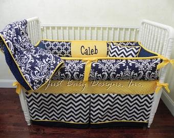 Custom Crib Bedding Set Caleb - Boy Baby Bedding, Navy Baby Bedding, Navy Damask and Chevron with Yellow