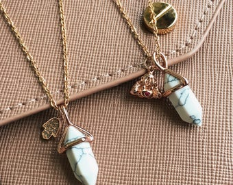 Crystal Point Necklace, Healing Crystal Necklace, Rose Gold Necklace, Bohemian Necklace