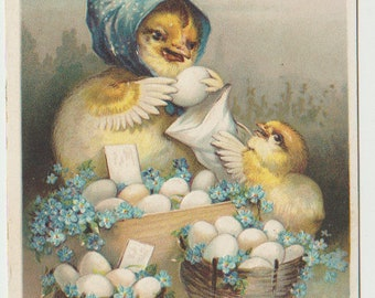 Vintage Easter Postcard, Three Baskets of Easter Eggs, Mother and Child Chicks, 1912