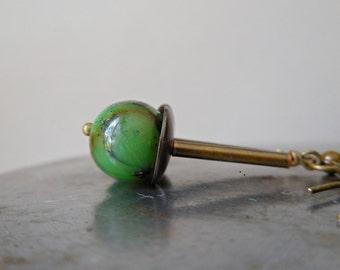 Chrysoprase earrings ethnic olive apple green natural gem stone gemstone dangle organic bead Africa style brass tribal for men women boho